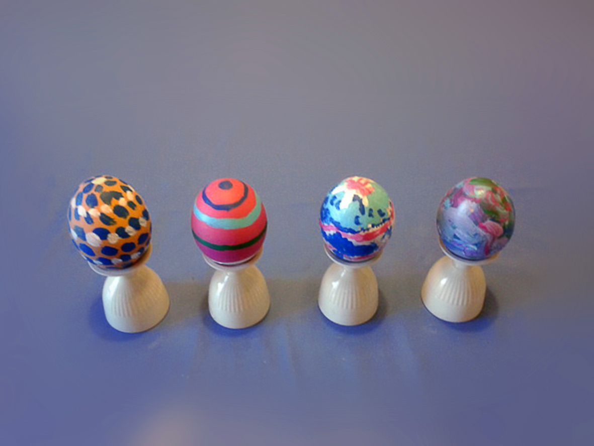four easter eggs, hand painted